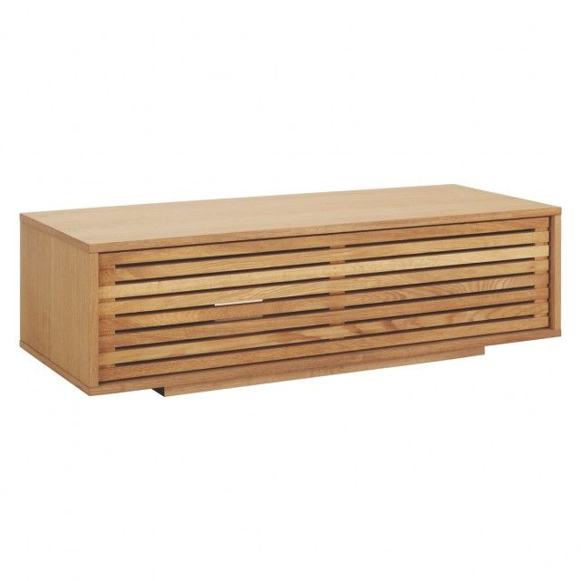 max oiled oak small tv stand with slatted front living. Black Bedroom Furniture Sets. Home Design Ideas