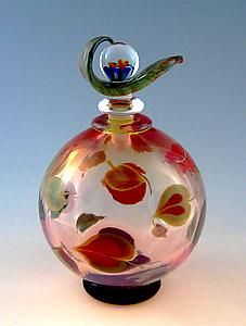 """Dogwood Perfume Bottle""  Art Glass Perfume Bottle    Created by Chris Pantos"