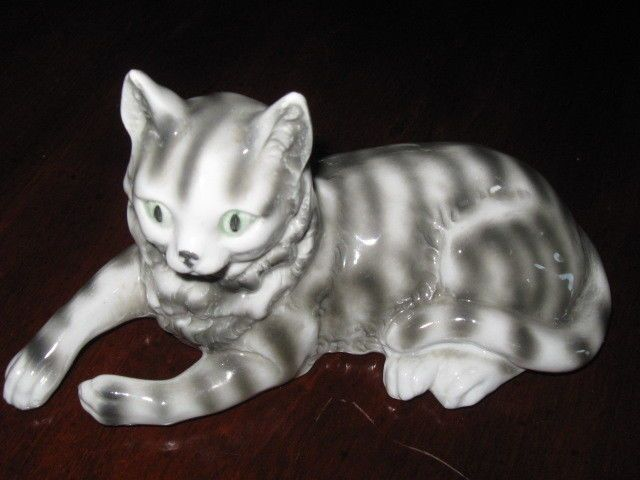 Vintage Erphila German Porcelain Gray Striped Tiger Collectible Cat Figurine | eBay