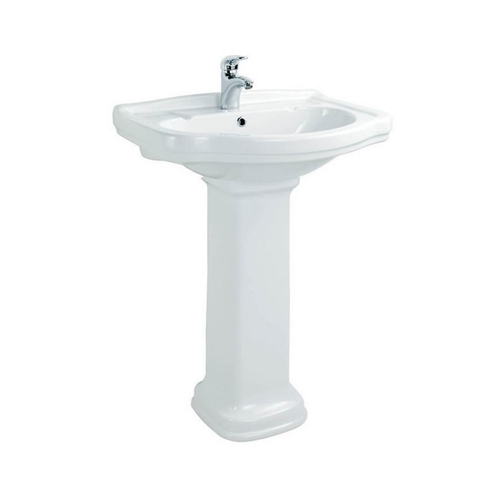 Ws Bath Collections Klassic Pedestal Bathroom Sink Basin In Ceramic White With 1 Faucet Hole Modern Bathroom Sink Sink Bathroom Sink Tops