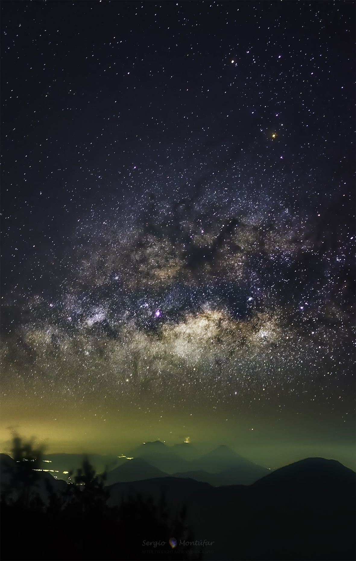 Milky Way above an active volcano