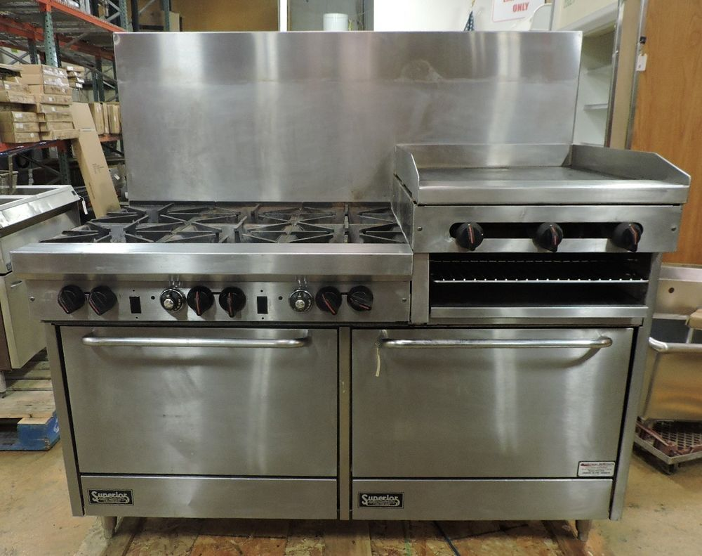 Restaurant Kitchen Oven superior commercial 6 burner range w/ griddle, cheesemelter, & 2
