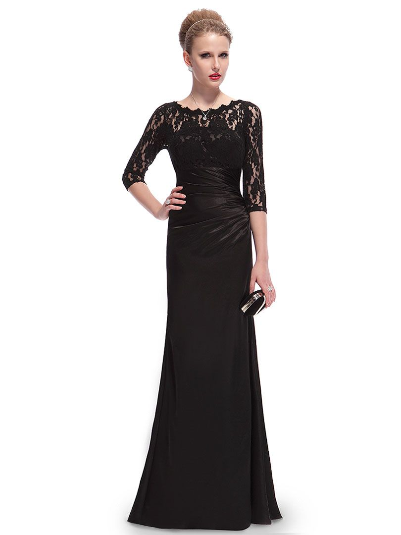 Black mesh lace detail sleeve ruched bodycon maxi dress fasion