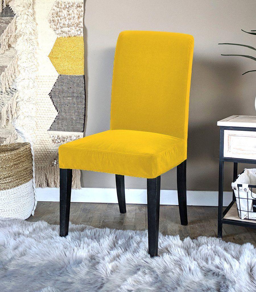 IKEA Henriksdal Dining Chair Cover, Gold Velvet