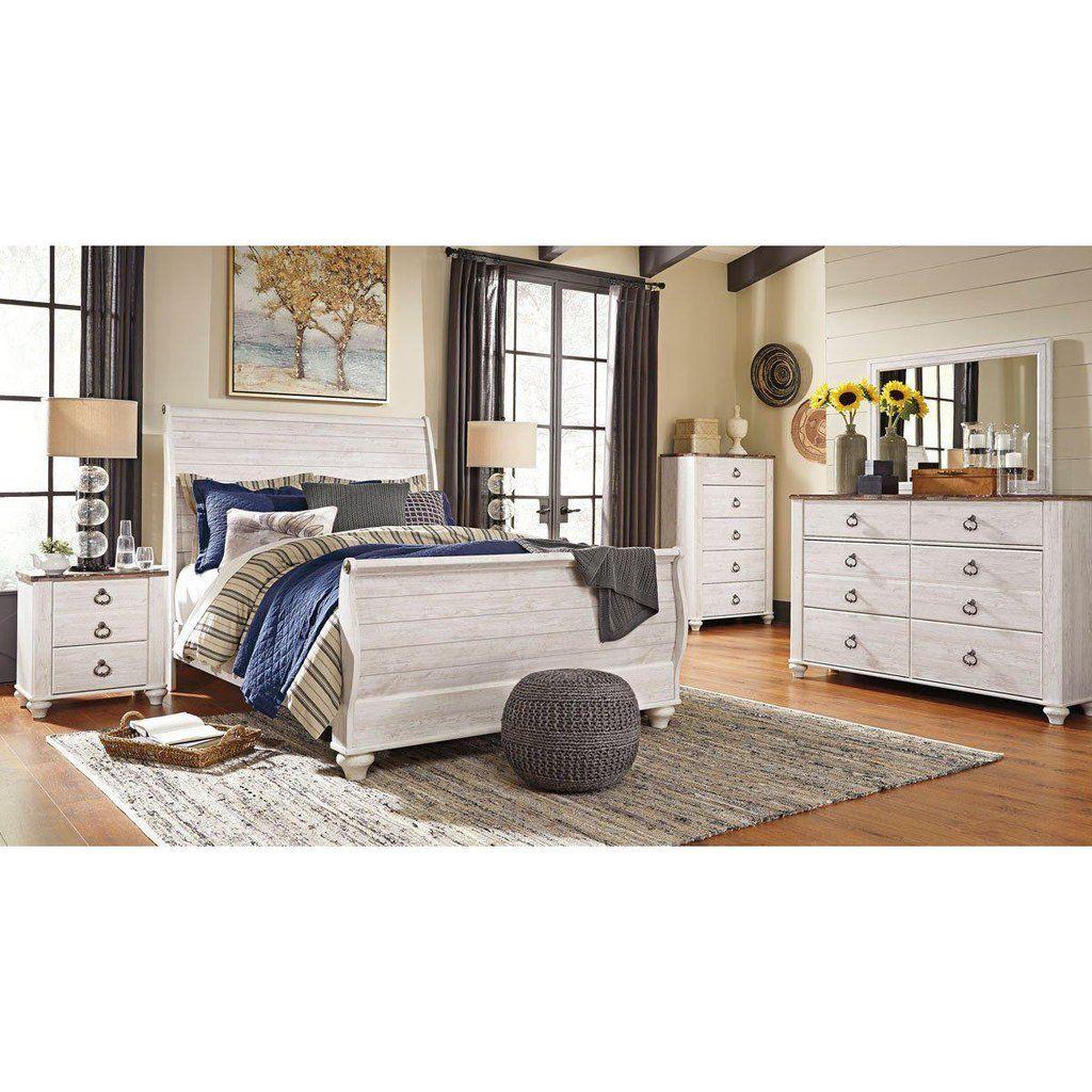 Willowton Sleigh Bed Sleigh bedroom set, Bedroom set
