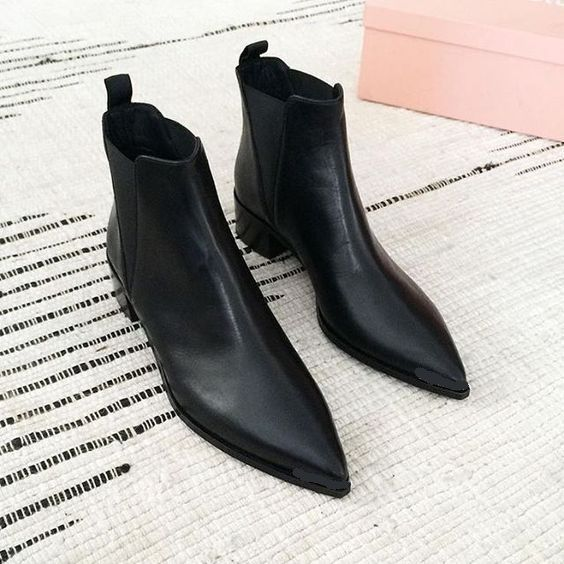 Handmade Men Black Pointed Toe Chelsea Boots, Men Black Leather Ankle Boots