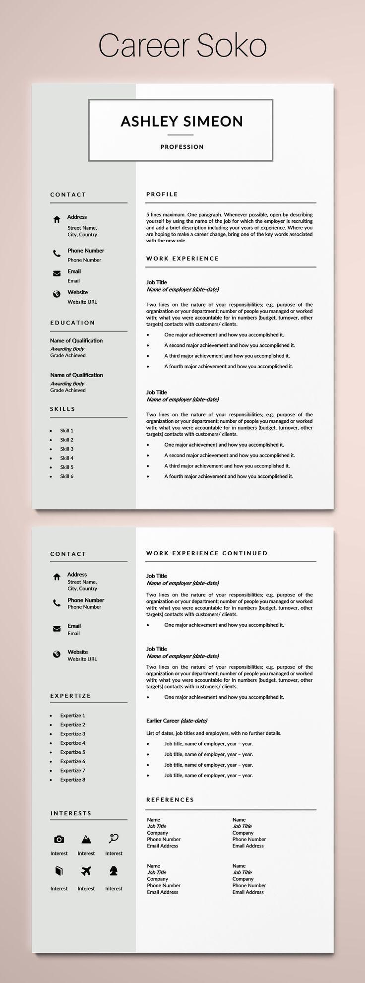2page resume template, resume template, resume