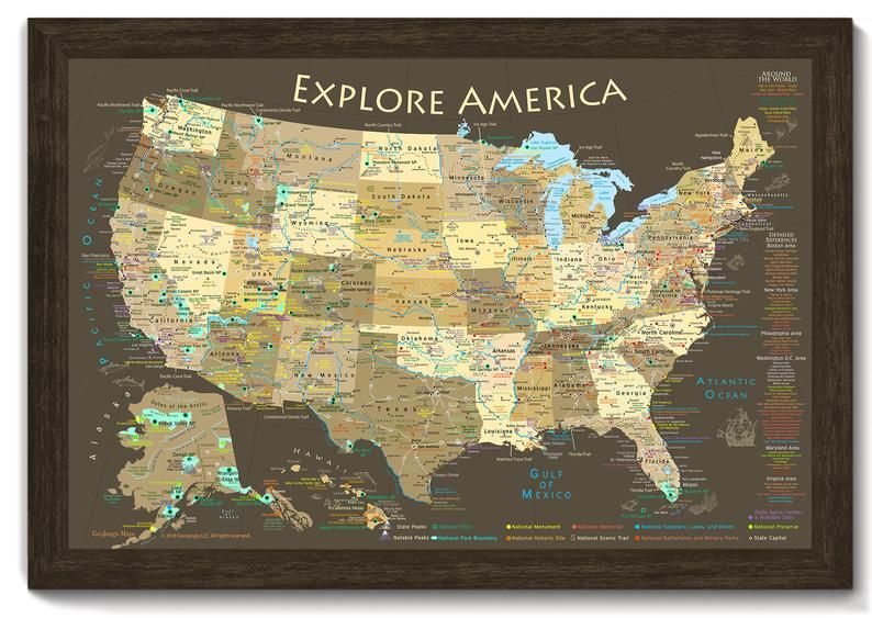 National Park Map Explore America Map Poster Or Framed Usa Etsy Usa Map Framed Push Pin Map Map Poster