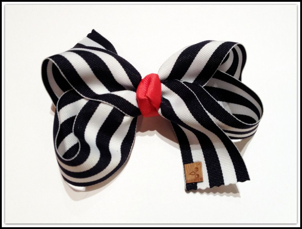 Navy and White Striped Bow
