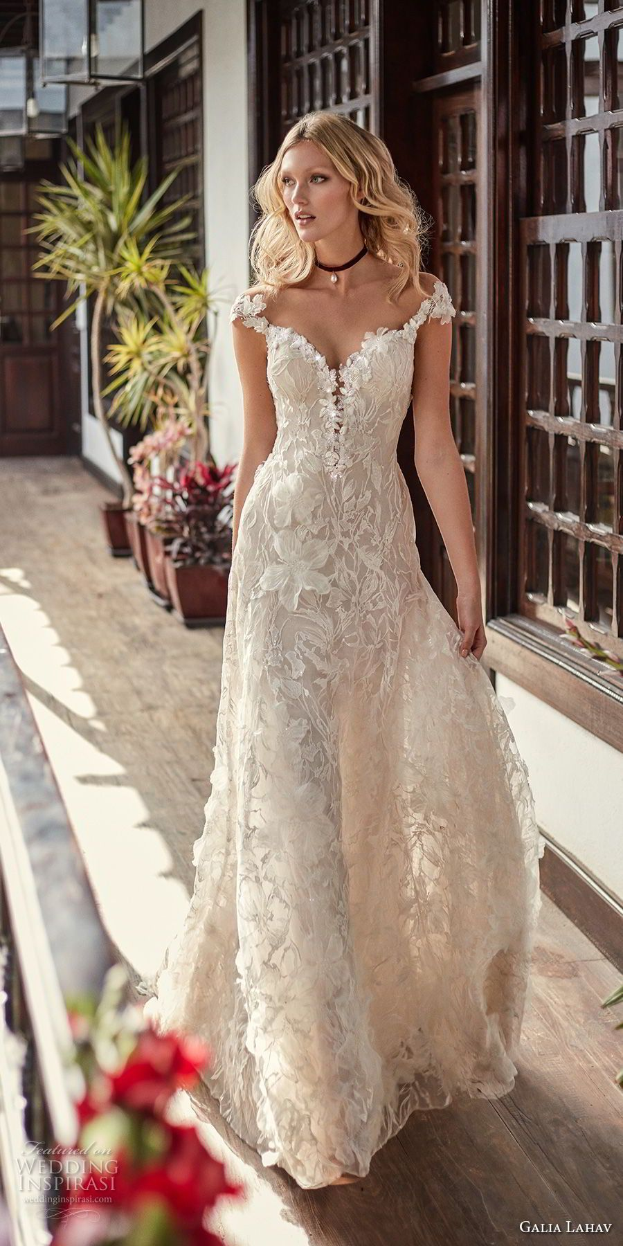 Galia lahav couture fall bridal cap sleeves sweetheart neckline