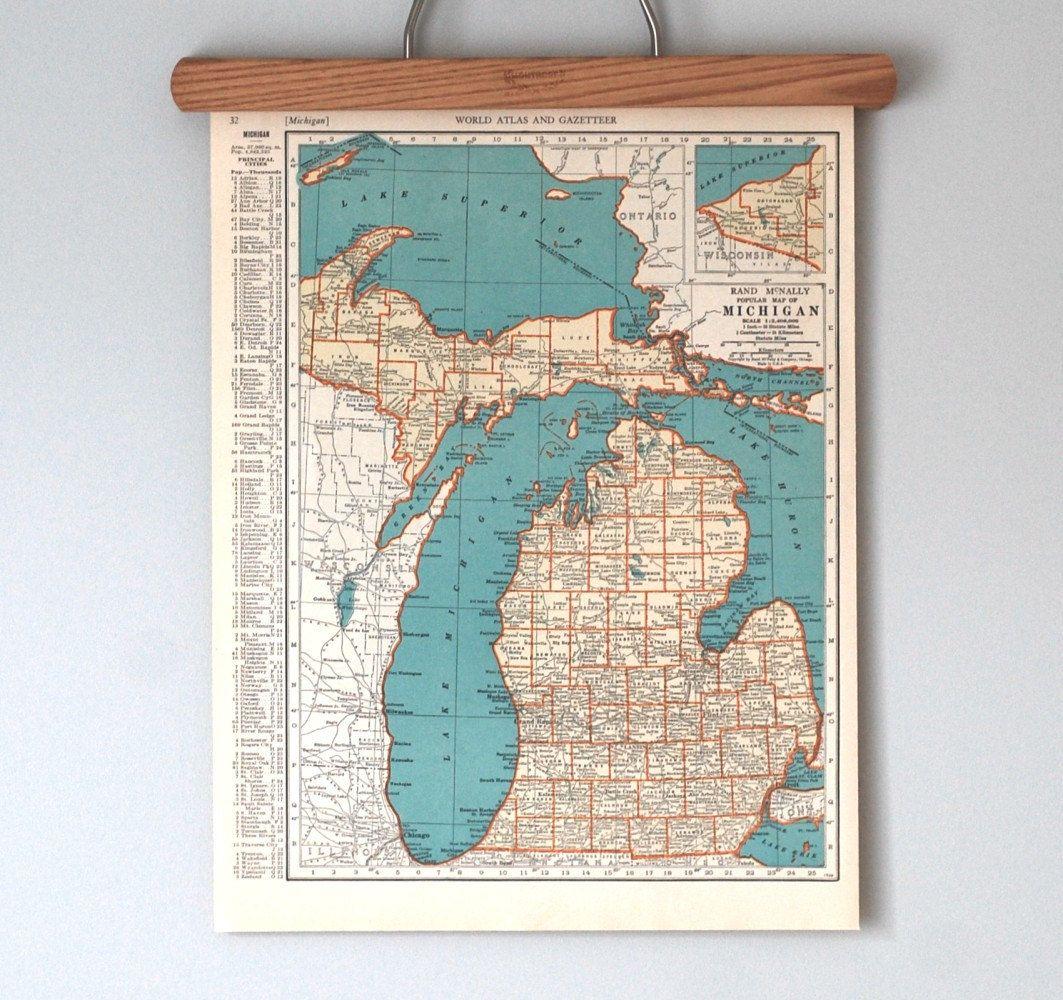 Michigan map 1930s beverages pinterest mapas el mapa y leones michigan map 1930s gumiabroncs Gallery