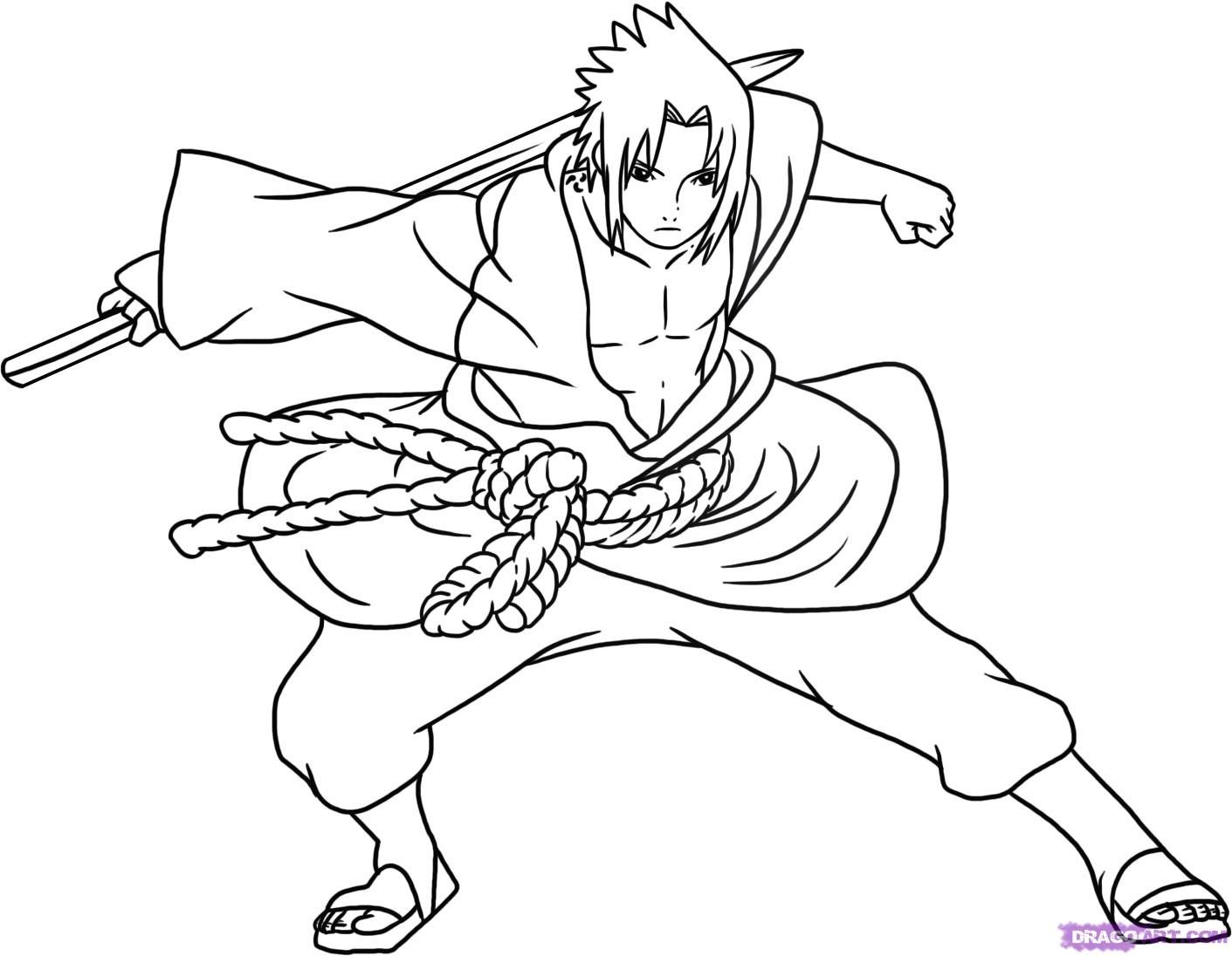 Anime Sasuke Uchiha Coloring Pages