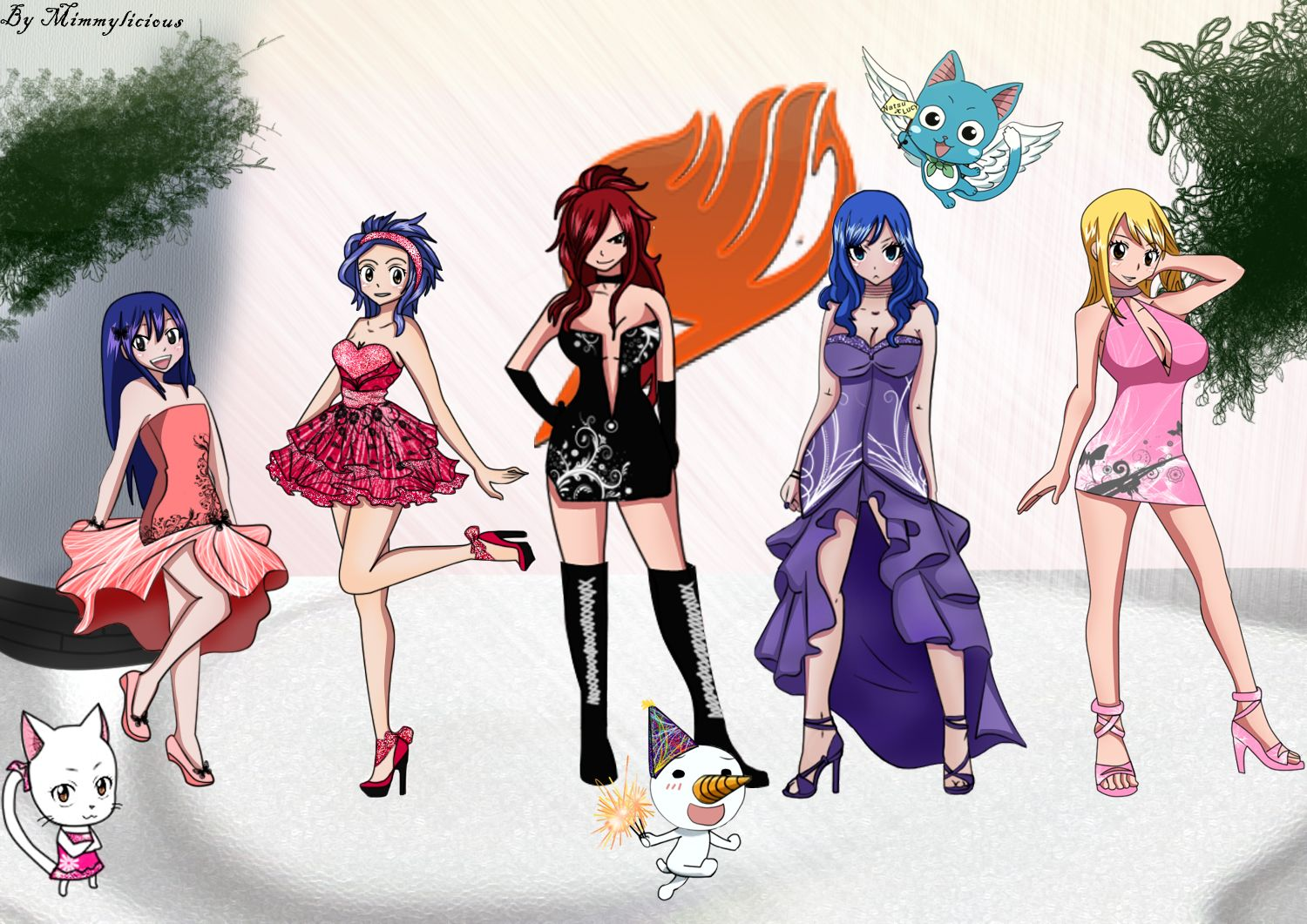 Fairy Tail Girls Party By Mimmylicious Dpqloq Your Hd Wallpaper