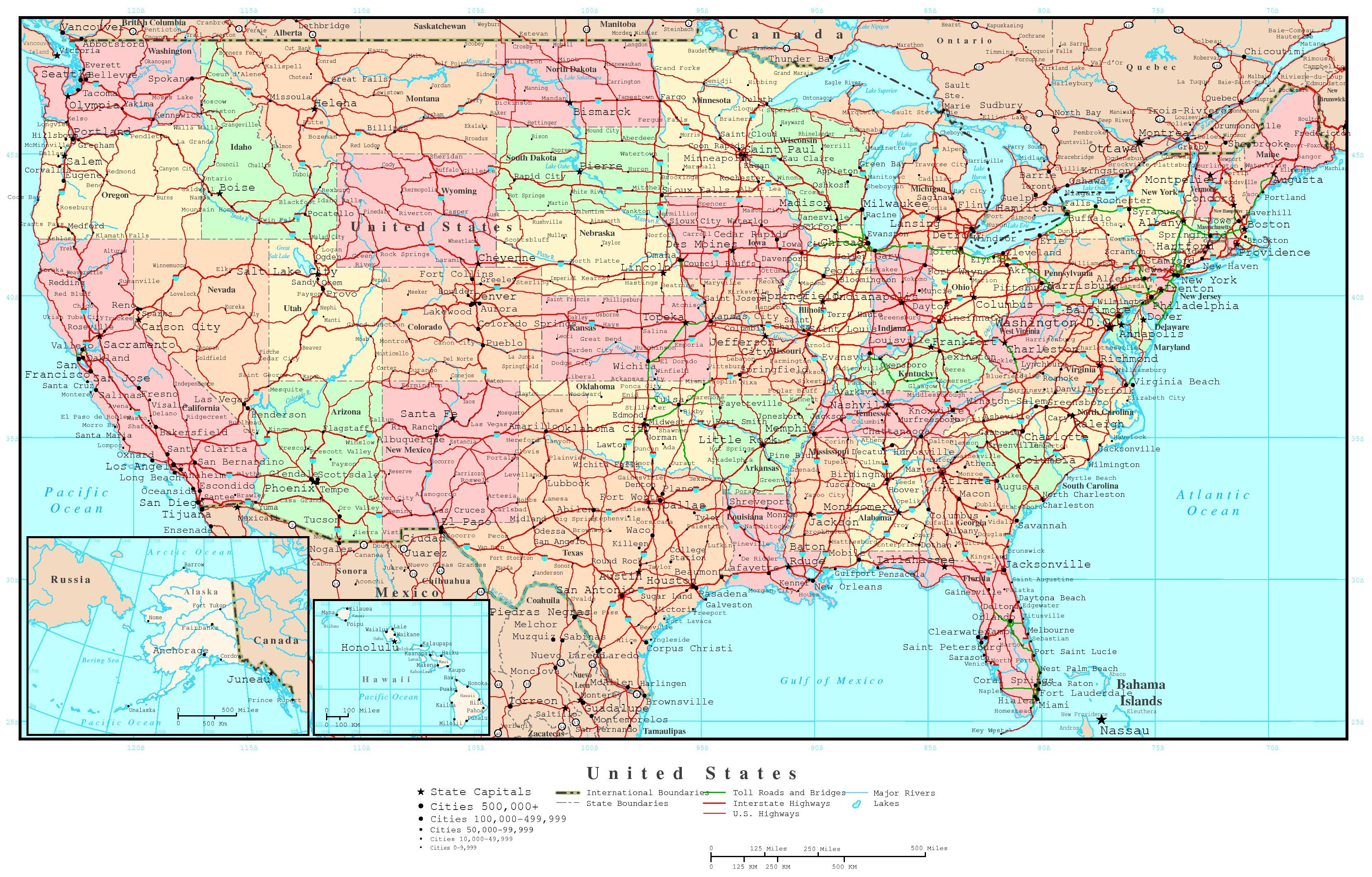 LargedetailedpoliticalandroadmapofUSAjpg - Travel map us