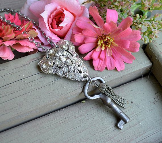 Repurposed shoe clip and skeleton key necklace