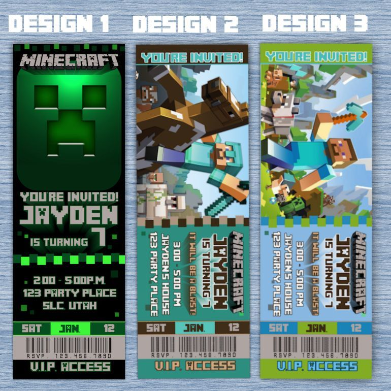 Minecraft birthday invitations minecraft inspired party invites minecraft birthday invitations minecraft inspired party invites tickets solutioingenieria Images