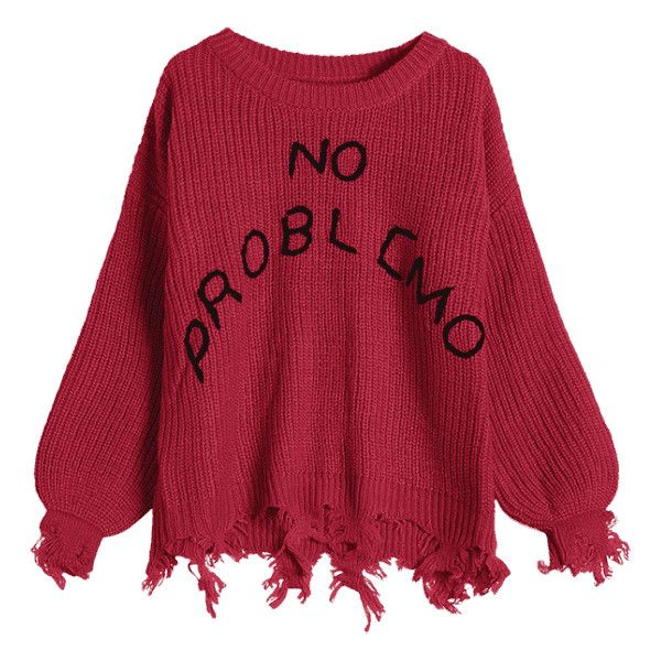 Loose Ripped Tassels Letter Sweater Red 23 Liked On Polyvore