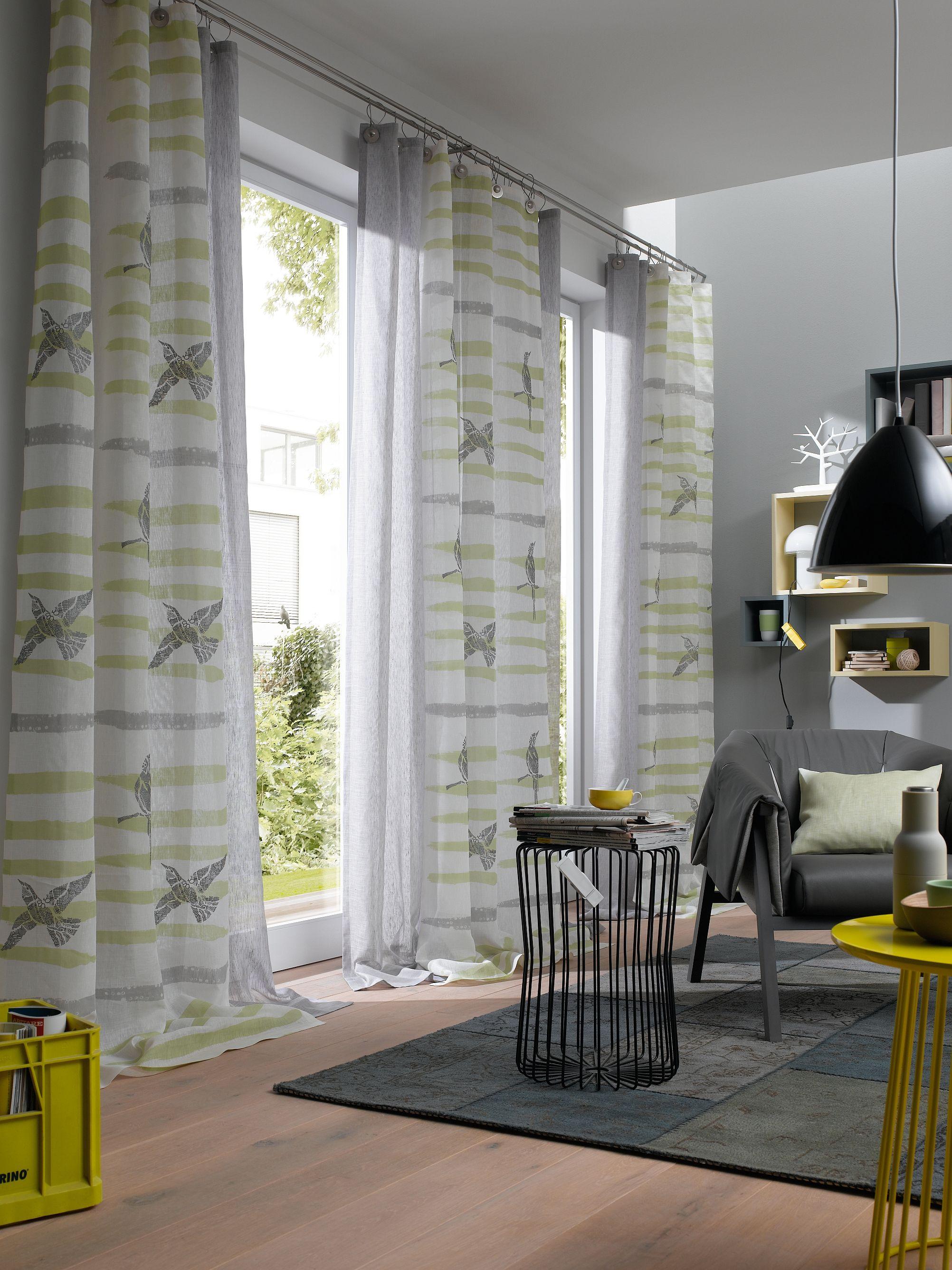Ado Dessin Early Bird Stoff Fabric Vorhang Gardine Curtain Vogel Gelb Yellow Illustration Leinen Linnen Vorhänge Wohnzimmer Haus Deko Wohnen
