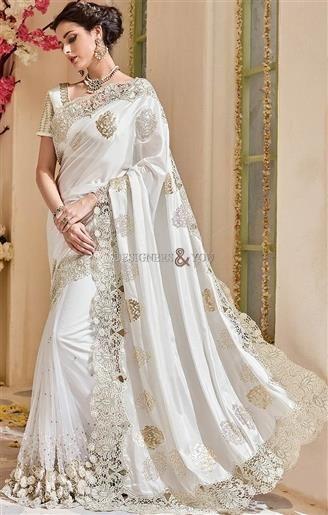 Beautiful Off White Net Silk Heavy Wedding Reception Saree Set