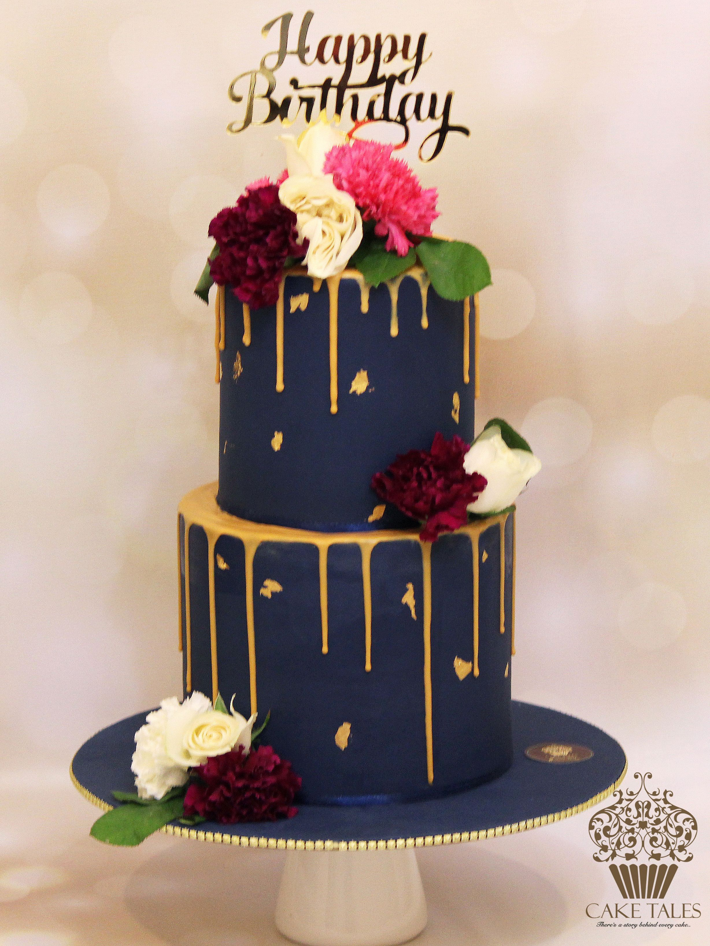 Black With Gold Drip Birthday Cake In 2019 Birthday Cake