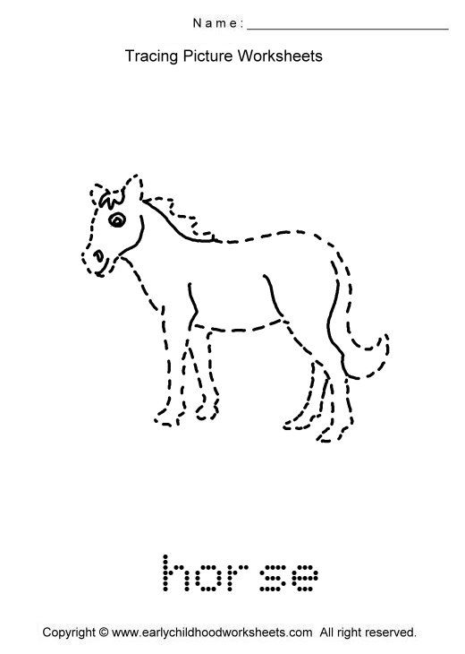 trace animals images as to print this worksheet click tracing picture worksheets horses. Black Bedroom Furniture Sets. Home Design Ideas