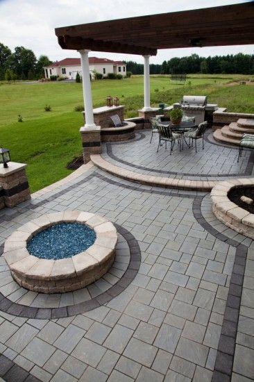 Richcliff Multi Level Patio With Fire Pit Stone Patio Designs