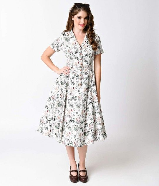 f0cac41aa4583 Collectif 1950s White Autumn Leaves Caterina Shirt Swing Dress ...