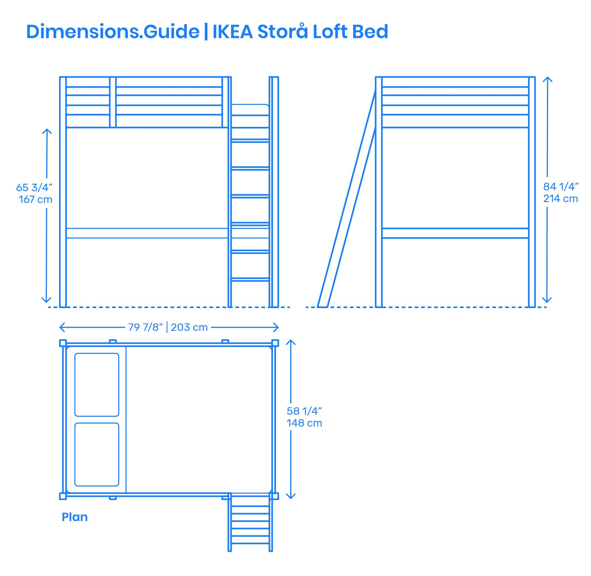 The IKEA Storå Loft Bed is a solid wood loft frame capable