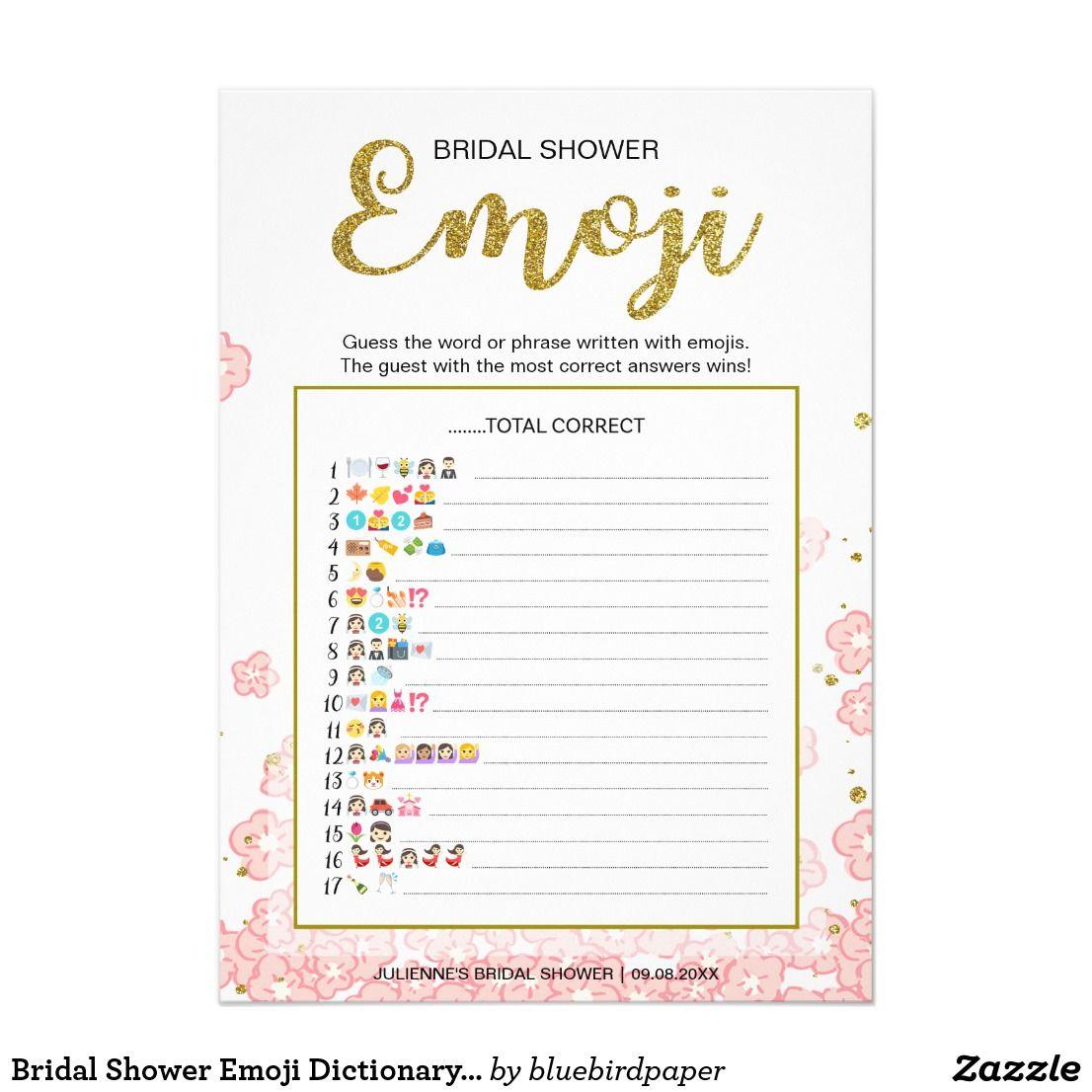 Bridal Shower Emoji Dictionary Game Gold Pink Zazzle Com In 2019