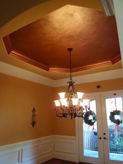 Metallic Tray Ceiling Dining Ceiling Copper Leafed Trim Copper Ceilings Painted Ceiling Copper Ceiling