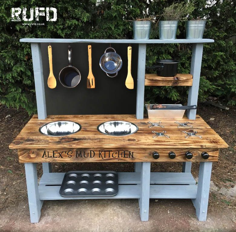 Mud Kitchen Pressure Treated Timber Painted Frame Eco Friendly Finish 2 Bowl Hob Oven Large Chalkboard Mud Kitchen Outdoor Play Kitchen Diy Mud Kitchen