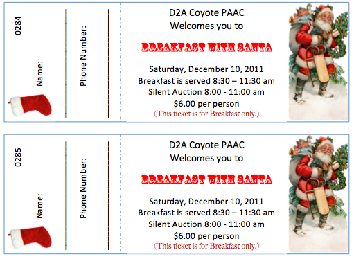 Ticket Templates For A Breakfast With Santa Event! Download And Customize!  Free Event Ticket Template Download