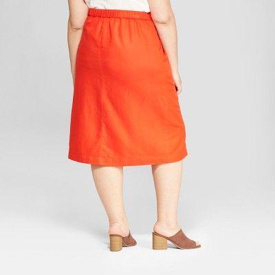 a3405808d40bb Women s Plus Size Midi Button Front Skirt - Universal Thread Orange ...
