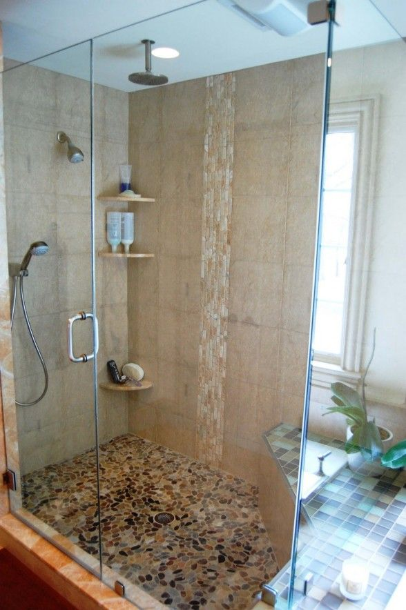 modern bathroom shower ideas waterfall | my place...or yours ... on blue mosaic tiles bathroom, modern stone tile, modern kitchen tile, modern tile wall, modern mosaic shower curtain, modern mosaic floor,