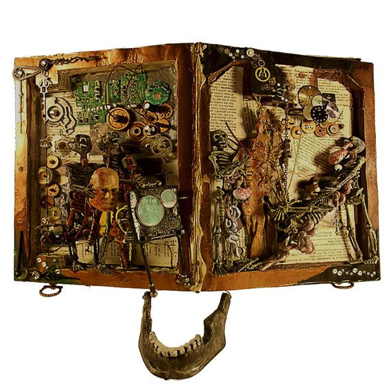 Mixed Media Altered Book Horror and Steampunk by runkpockart, at Etsy