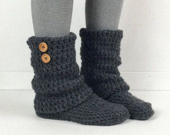 a22df4d449481 Women's Crochet Dark Gray Slouchy Slipper Boots, Crochet Slippers ...