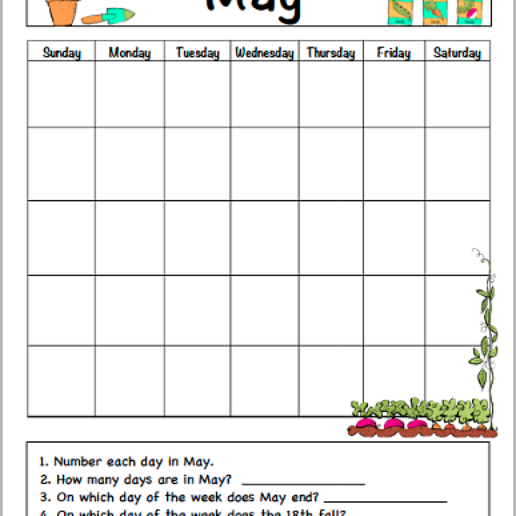 May Calendar For Kids Free Printable