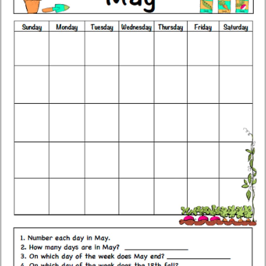 May Calendar For Kids Free Printable