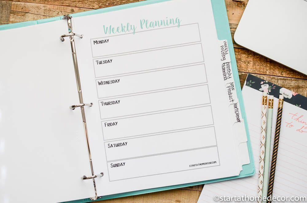 Shop Organization Printables and Weekly Calendar Interesting Pins