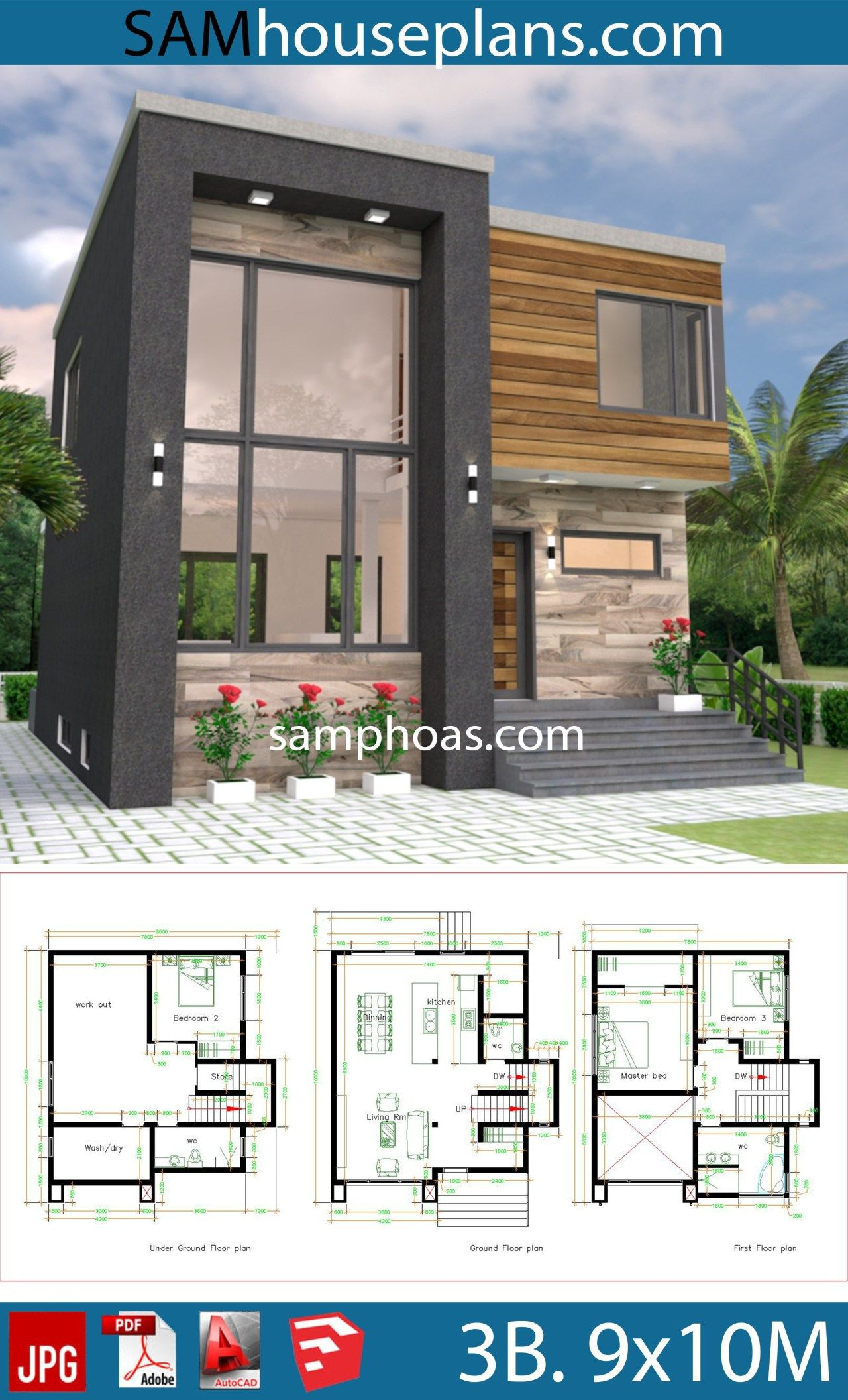 House Plans 9x10 With 3 Bedrooms Samphoas Plan Small Modern House Plans Architectural House Plans Sims House Plans