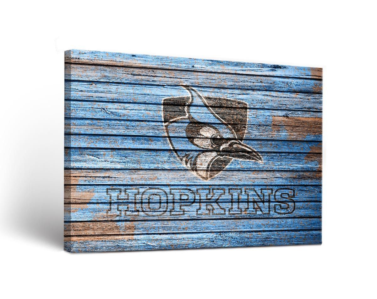 Johns hopkins blue jays weathered wood canvas wall art print