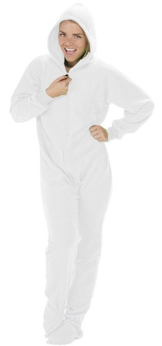 0ffdf4ea2 Amazon.com  Footed Pajamas Arctic White Adult Hoodie One Piece ...