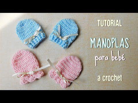 063860bcb Guantes o manoplas para bebe a crochet - YouTube