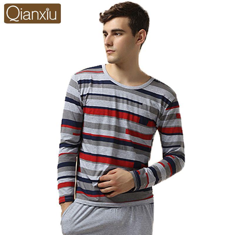 Qianxiu Brand Pajamas Modal Sleepwear Patchwork Men Pajama Set ...