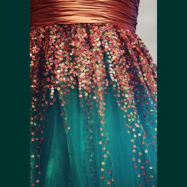 Gorgeous Color Combination Sea Green And Peach Ish Copper Dress With Sequins
