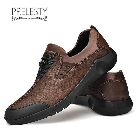 Prelesty Mens High Quality Cow Leather Brogues Shoes Handsome Design
