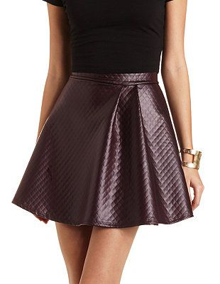Quilted Faux Leather Skater Skirt