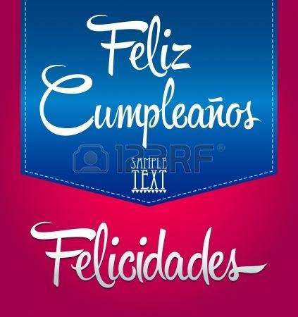 Feliz Cumpleanos   buon compleanno testo spagnolo   vettore