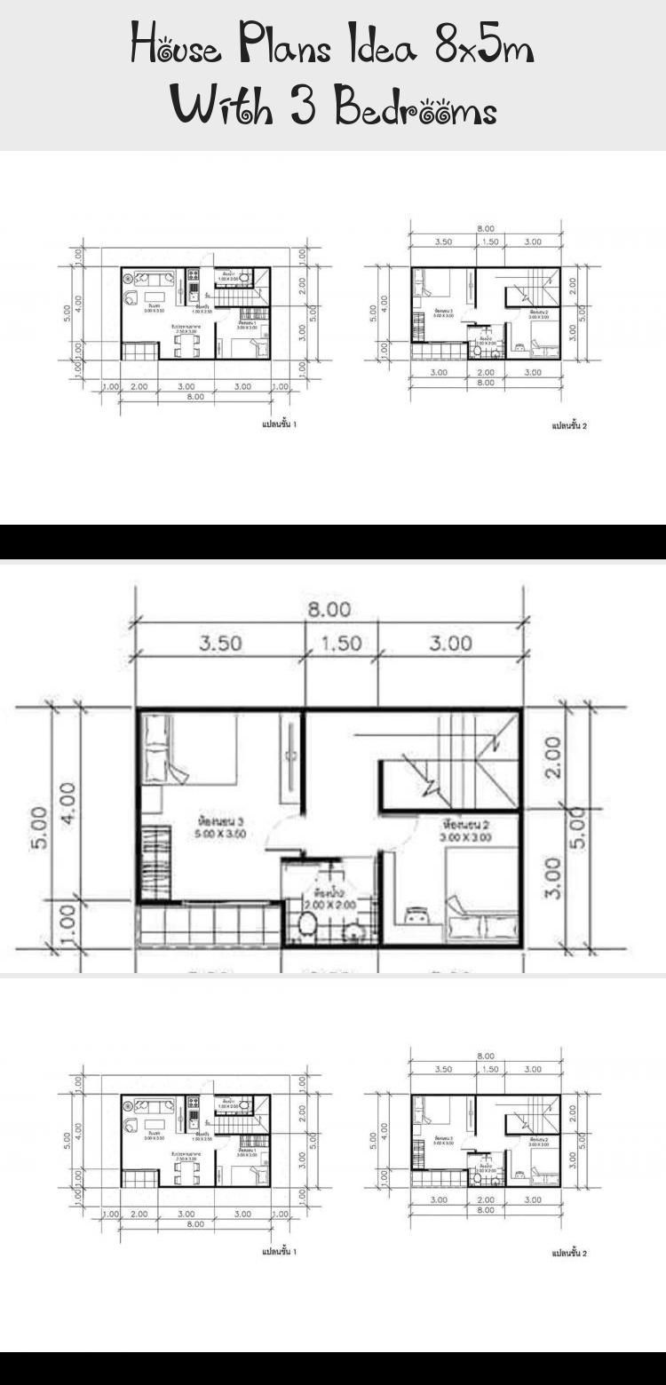 House Plans Idea 8x5m With 3 Bedrooms Sam House Plans Smallhouseplans400sqft Smallhouseplanswithbasement Smallho In 2020 House Plans Small House Plans How To Plan