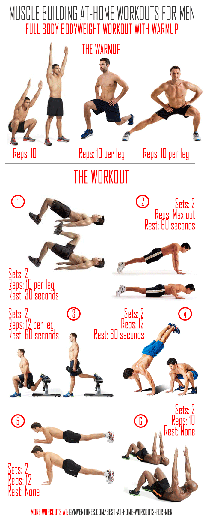 At Home Workouts For Men 10 Muscle Building Workouts Full Body Bodyweight Workout Home Workout Men Bodyweight Workout